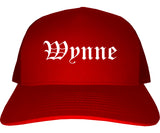 Wynne Arkansas AR Old English Mens Trucker Hat Cap Red