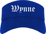 Wynne Arkansas AR Old English Mens Visor Cap Hat Royal Blue