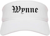 Wynne Arkansas AR Old English Mens Visor Cap Hat White