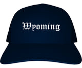 Wyoming Michigan MI Old English Mens Trucker Hat Cap Navy Blue