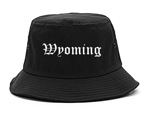 Wyoming Ohio OH Old English Mens Bucket Hat Black