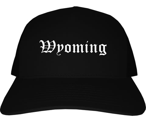 Wyoming Ohio OH Old English Mens Trucker Hat Cap Black