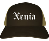 Xenia Ohio OH Old English Mens Trucker Hat Cap Brown