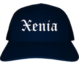 Xenia Ohio OH Old English Mens Trucker Hat Cap Navy Blue