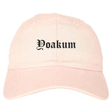 Yoakum Texas TX Old English Mens Dad Hat Baseball Cap Pink