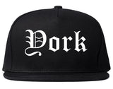 York Nebraska NE Old English Mens Snapback Hat Black