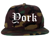 York Nebraska NE Old English Mens Snapback Hat Army Camo