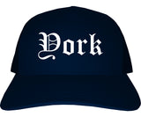 York Pennsylvania PA Old English Mens Trucker Hat Cap Navy Blue