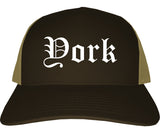 York South Carolina SC Old English Mens Trucker Hat Cap Brown