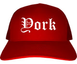 York South Carolina SC Old English Mens Trucker Hat Cap Red