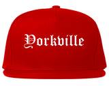 Yorkville Illinois IL Old English Mens Snapback Hat Red
