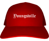 Youngsville Louisiana LA Old English Mens Trucker Hat Cap Red