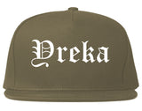 Yreka California CA Old English Mens Snapback Hat Grey
