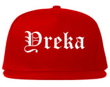 Yreka California CA Old English Mens Snapback Hat Red