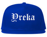 Yreka California CA Old English Mens Snapback Hat Royal Blue