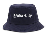Yuba City California CA Old English Mens Bucket Hat Navy Blue