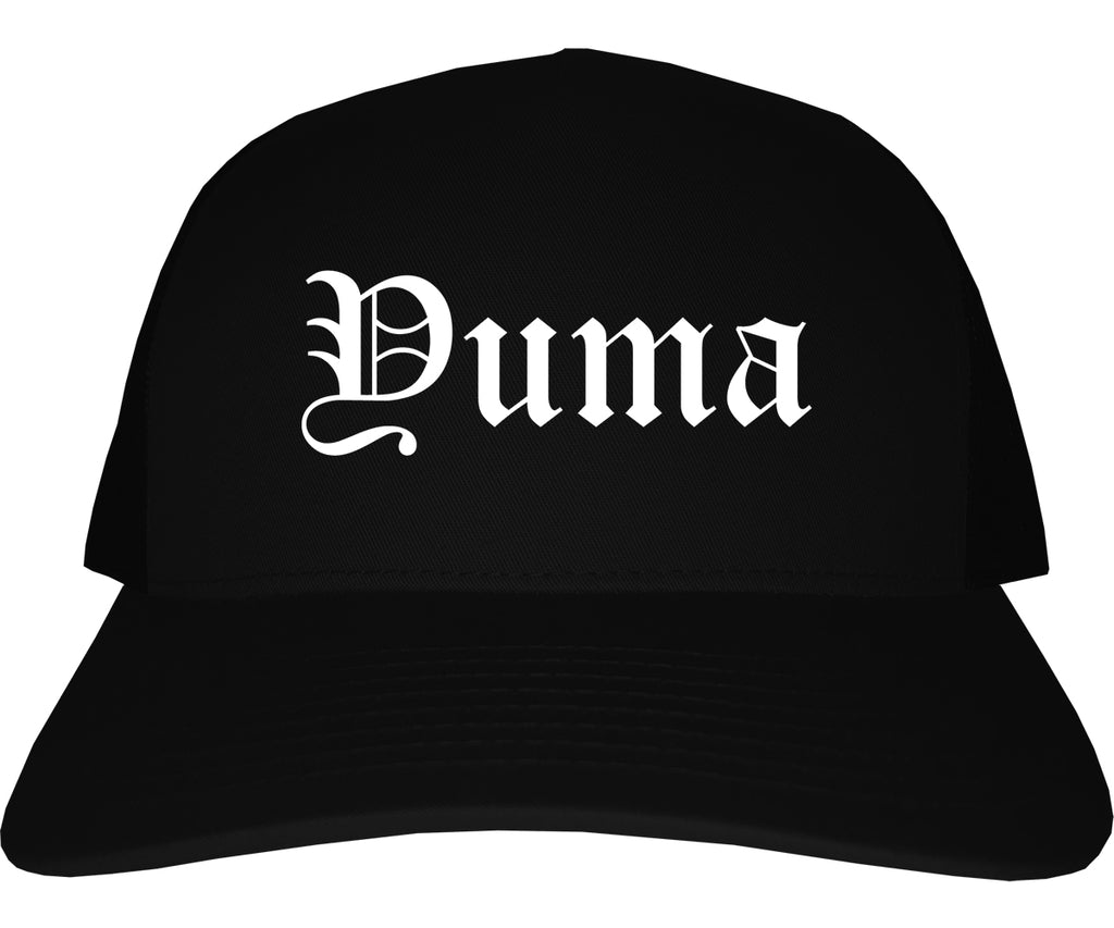 Yuma Arizona AZ Old English Mens Trucker Hat Cap Black