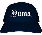 Yuma Arizona AZ Old English Mens Trucker Hat Cap Navy Blue