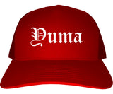 Yuma Arizona AZ Old English Mens Trucker Hat Cap Red