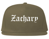 Zachary Louisiana LA Old English Mens Snapback Hat Grey