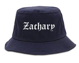 Zachary Louisiana LA Old English Mens Bucket Hat Navy Blue