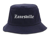 Zanesville Ohio OH Old English Mens Bucket Hat Navy Blue