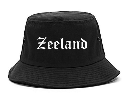 Zeeland Michigan MI Old English Mens Bucket Hat Black