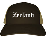 Zeeland Michigan MI Old English Mens Trucker Hat Cap Brown