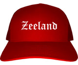 Zeeland Michigan MI Old English Mens Trucker Hat Cap Red