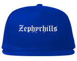 Zephyrhills Florida FL Old English Mens Snapback Hat Royal Blue
