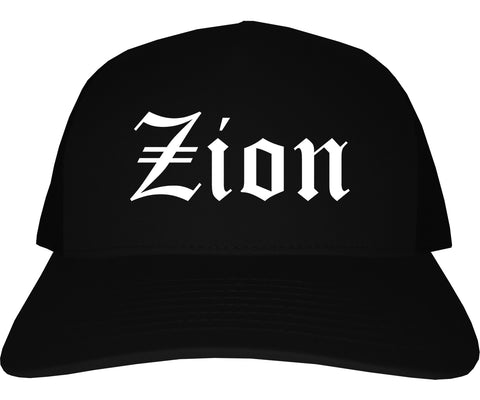 Zion Illinois IL Old English Mens Trucker Hat Cap Black