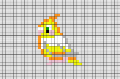 Cockatiel Bird Pixel Art