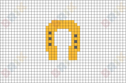 Gold Horseshoe Pixel Art
