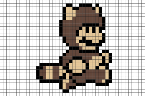 Super Mario Tanooki Suit Pixel Art