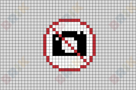 No Taking Picture Sign Pixel Art