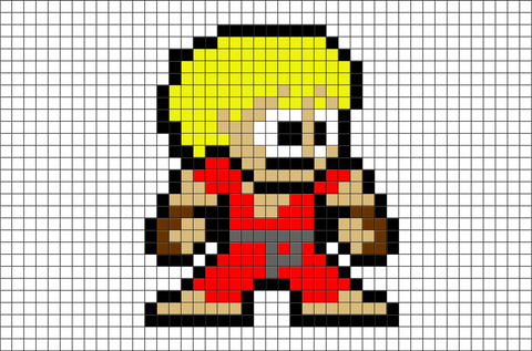 Street Fighter Ken Pixel Art