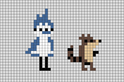 The Regular Show Rigby and Mordecai Pixel Art
