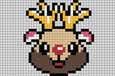 Rudolph the Red-Nosed Reindeer Pixel Art