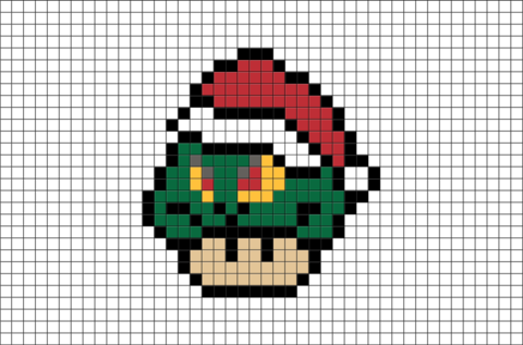 Mario Mushroom The Grinch Pixel Art