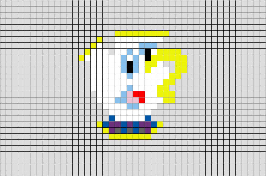 Beauty And The Beast Chip The Cup Pixel Art Brik