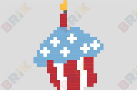4th of July Cupcake Pixel Art