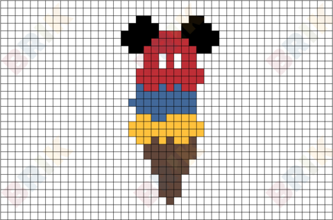 Mickey Ice Cream Pixel Art