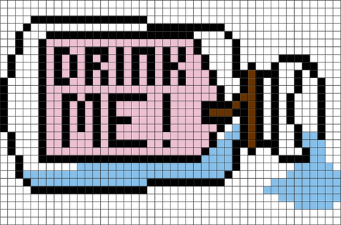 Alice in Wonderland Drink Me Pixel Art