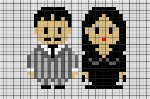 Addams Family Gomez and Morticia Pixel Art