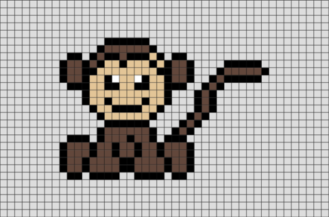 Squirrel Monkey Pixel Art