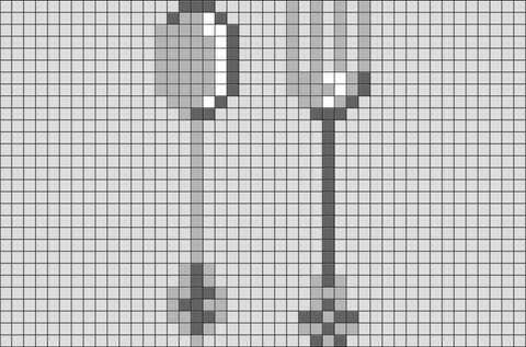 Spoon and Fork Pixel Art