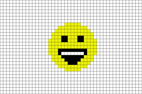 Smiling Face With Open Mouth and Smiling Eyes  Emoji Pixel Art