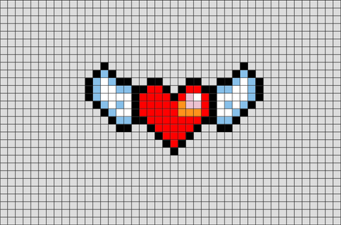Winged Heart Pixel Art