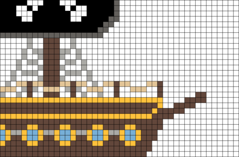 Pirate Ship Front Pixel Art