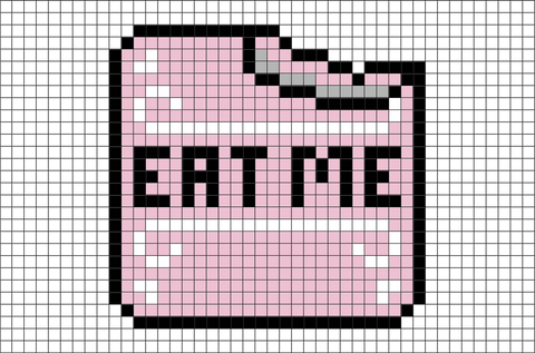 Alice in Wonderland Eat Me Cake Pixel Art